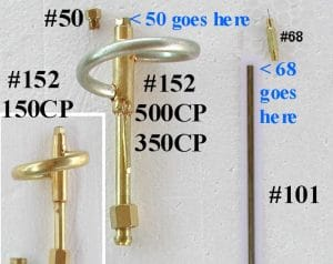 150CP Needle and Nipple Kit part #50 and parts #68